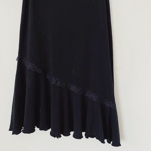 INITIAL Size Small Maxi lenght Stretch Lace Decorated Black Skirt